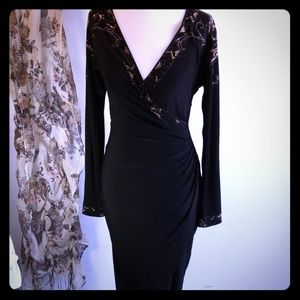 Cache Black with Black and Gold Sequin Trim Dress